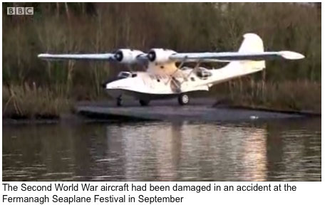 Paris-based WWII Catalina N9767 damaged at Fermanagh festival repaired