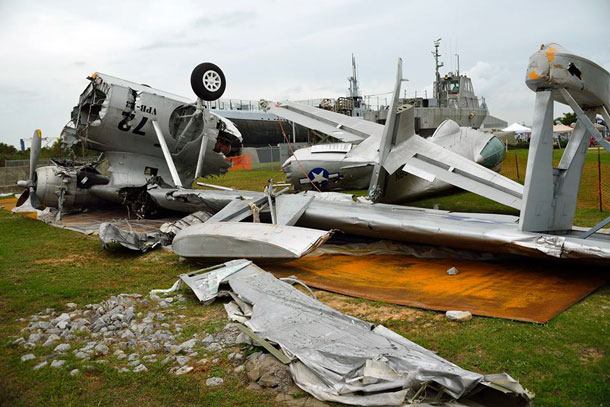 The mangled remains of PBY-6A N85U after being moved to the USS Alabama Battleship Park Museum in Mobile, AL Photo: via Heijo Kuil